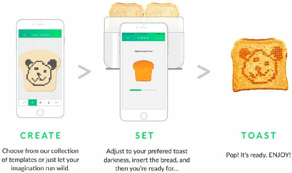 Making toast with Toasteroid is super easy. Just download the Toasteroid companion mobile app, connect your smart phone to Toasteroid via Bluetooth and toast away!