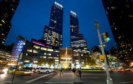 Time Warner Center and Columbus Circle, Manhattan NYC. / Wikipedia