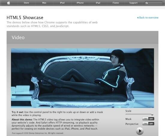 HTML5 Showcase Video / Apple.com