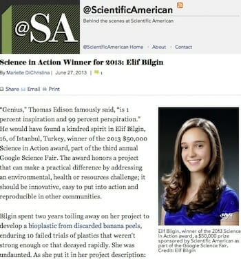 Science in Action Winner for 2013: Elif Bilgin / Scientific American