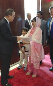 Secretary-General Ban Ki-moon welcome Malala to his office