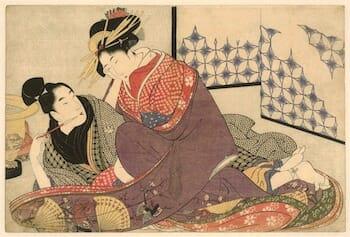 Jonge man met courtisane, Kitagawa Utamaro, 1799 / Rijksmuseum