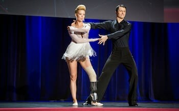 (L-R) Dancers Adrianne Haslet-Davis and Christian Lightner at TED2014 - The Next Chapter, March 17-21, 2014, Session 6 - Wired, Vancouver Convention Center, Vancouver, Canada. Photo: Ryan Lash