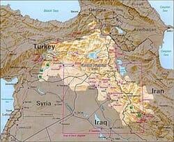CIAの発表したクルド人居住地域の地図(1992年)