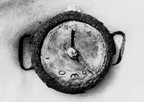 The Hiroshima explosion recorded at 8.15 a.m. 6 August 1945 on the remains of a wrist watch found in the ruins. / Yuichiro Sasaki