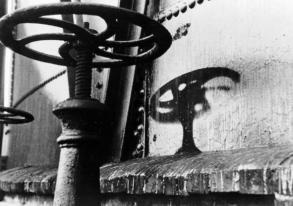 Thermic rays imprint the shadow of a handle on a gasometer about 2 kilometers from the hypocenter at Hiroshima. / Shunkichi Kukuchi