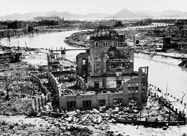 A-Bomb Terror The remains of the Prefectural Industry Promotion Building, later preserved as a monument. 01 September 1945 / UN Photo