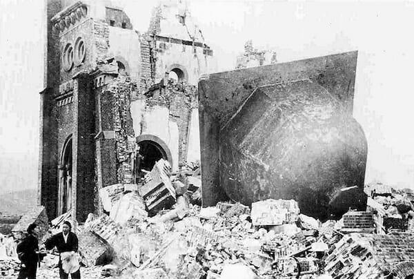 破壊された浦上天主堂(1946年1月7日撮影)/ Wikipedia