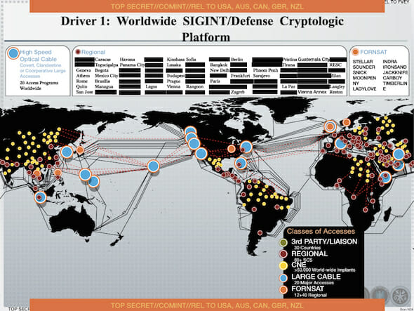 An NSA document dating from 2012. It was leaked by Edward Snowden to the Dutch newspaper NRC Handelsblad. The orange dots on the map correspond to the locations of several FORNSAT/ECHELON stations / en:Wikipedia