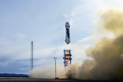 Blue Origin's reusable New Shepard rocket successfully landed after a test launch on Monday / Blue Origin