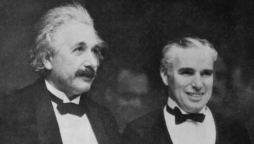 Charlie Chaplin with Albert Einstein at the premiere of City Lights / Wikipedia