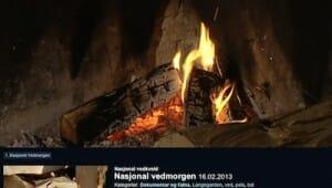 視聴率20%の薪が燃えているだけの映像(NRK TV)