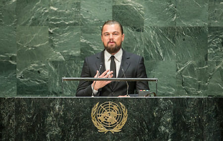 Leonardo DiCaprio, Actor and UN Messenger of Peace, addresses the opening of the Climate Summit 2014. / UN Photo/Cia Pak