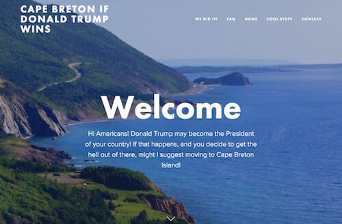 CAPE BRETON IF DONALD TRUMP WINS / Website