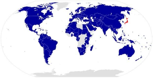 東日本大震災に対して支援を表明した国の地図 / Wikipedia
