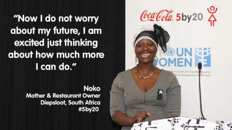 南アフリカのディップスルアットで5人の子どもを養育しながらレストランを経営しているノコさん / Businesswire