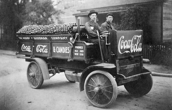 Early Delivery Truck in Knoxville, TN The Rapid Truck, made by the Rapid Motor Vehicle Company in Pontiac, MI, was the first truck in Knoxville, TN. This photo was taken in 1909. / Coca Cola