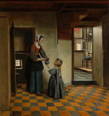 配膳室にいる女と子供(アムステルダム国立美術館, 1658頃)/ Wikipedia