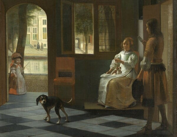 Man Handing a Letter to a Woman in the Entrance Hall of a House, Pieter de Hooch, 1670 / rijksmuseum.nl