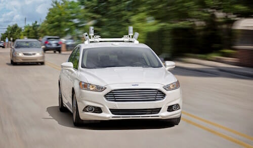 Ford fully autonomous Fusion Hybrid research vehicle on streets of Dearborn, MI.
