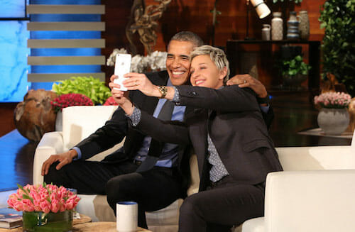 President Barack Obama and Ellen pose for a selfie. / ellen.warnerbros.com