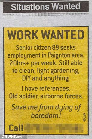 Pensioner Joe Bartley took out an ad in the local paper. / swns.com